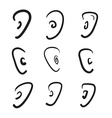 Hand drawn ears icon set vector image vector image
