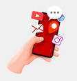 hand holding smartphone and cloud applications vector image vector image
