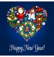 Happy New Year greeting poster in heart shape vector image vector image