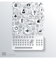 Keyboard icon Flat abstract background with web vector image