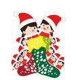 kids huddled toghether inside a christmas stocking vector image vector image