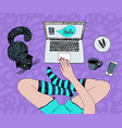 legs in socks laptop and cat chatting vector image vector image