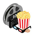 online cinema art movie watching with popcorn 3d vector image vector image