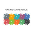 online conference cartoon template with flat vector image vector image