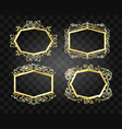 ornate glow golden frames set vector image