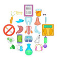 personal physician icons set cartoon style vector image vector image