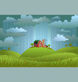 rainy day in the village vector image vector image