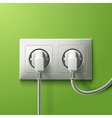 Realistic electric white double socket and 2 plugs vector image