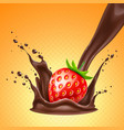 realistic strawberry in chocolate splash vector image
