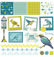 Scrapbook Design Elements - Vintage Birds Set vector image vector image