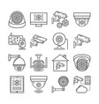 security surveillance camera cctv thin line icons vector image vector image