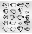 set cups various shapes and sizes painted vector image