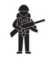 soldier gear black concept icon soldier vector image vector image