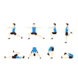 Stretching Exercise Set with Man Flat vector image
