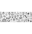 symbols ancient greek culture doodle set vector image