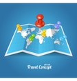 World Map with color geo location pins vector image