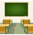 empty school classroom with blackboard and desks vector image