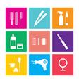 Flat Design Hairdressing Icons Set 9 vector image