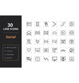 30 social line icons vector image