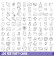 100 festivity icons set outline style vector image