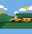 agricultural combine harvester seasonal farming vector image vector image