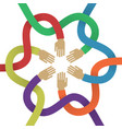 association several intertwined multicolored hands