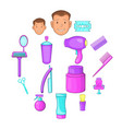 barbershop icons set cartoon style vector image