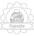black and white cupcake poster heart topping place vector image