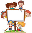 border template with many happy kids vector image vector image