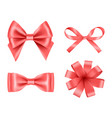 bow realistic holiday decoration colored bow vector image vector image