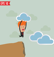 Business man jump across the hill - - EPS10 vector image
