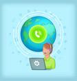 call center concept global cartoon style vector image