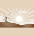 cartoon hot landscape mill cloud sun vector image