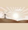 cartoon hot landscape mill cloud sun vector image vector image
