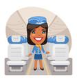 cartoon stewardess in cabin vector image