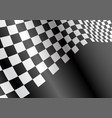 checkered flag flying wave on black sport race vector image vector image