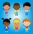 children kids people black white family cartoon bo vector image