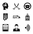 debriefing icons set simple style vector image vector image