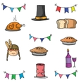 Doodle of thanksgiving food hat vector image