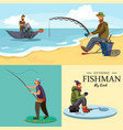 flat fisherman hat sits on shore with fishing rod vector image