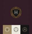 flourishes glitter gold monogram logo vector image vector image