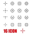 grey crosshair icon set vector image vector image