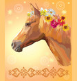 horse portrait with flowers vector image vector image