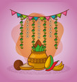 indian kalash coconut chili pepper garland vector image