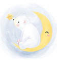 little polar bear playing with moon and star vector image