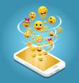 mobile phone emoji realistic vector image