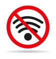 no wifi sign on white background vector image vector image