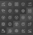 nuclear energy icons vector image vector image