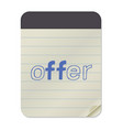 offer - lettering notebook vector image vector image