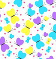 Seamless Pattern with Butterflies and Hearts Girly vector image vector image